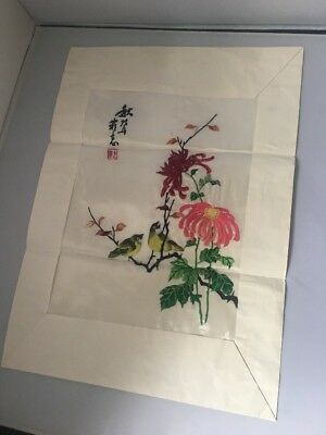 Vintage Chinese Japanese Embroidered Silk signed picture Floral Bird Oriental
