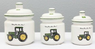 John Deere Canister Set of 3 Tractor Gibson Collectible Rare Discontinued