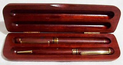 Wood Two Piece MAUI Pen Set in Case Etched Palm Trees Brass Hardware