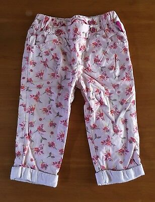 Baby Girls Ted Baker Floral Pink Cotton Trousers Age 9-12 Months