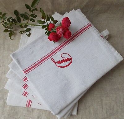 5 Anciens Torchons Blanc A Rayures Brodes Monogramme Lettre D Rouge