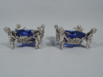 Antique Sweet Meat Dishes - Pair of Rococo Cherub Bowls - German 800 Silver