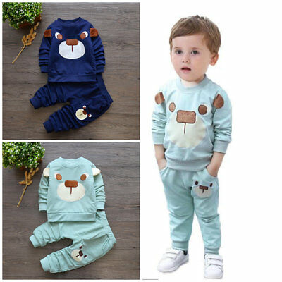 baby boys girls outfits tracksuit pullover top+pants Kids boy clothes set  bear