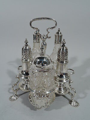 George II Cruet Stand - Antique Georgian Condiment - English Sterling Silver