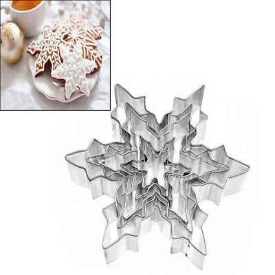 5pcs/1Set Snowflake-Shaped Cutter Cookies Stainless Steel Cake Pastry Mould DIY
