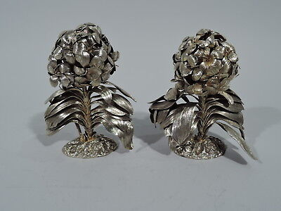 Tiffany Figurines - Pair Hydrangea Flower Bushes - Mexican Sterling Silver Gilt