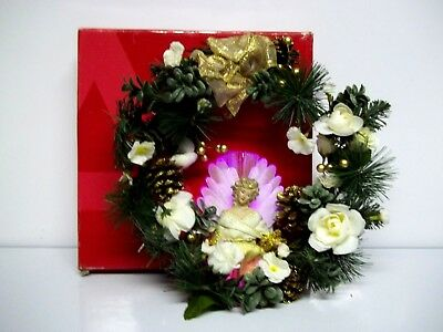 Avon Fiber Optic Color Changing Angel Wreath Lighted MIB Christmas Decor