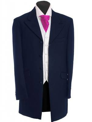 Men's Boys Prince Edward 3/4 Length Coat Navy Jacket Wedding Funeral Prom Stage
