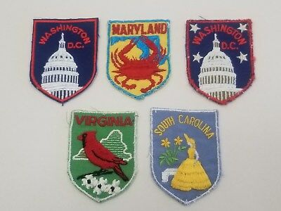 Vintage Voyager State Patches MARYLAND VIRGINIA S. CARLOINA WASHINGTON DC Lot