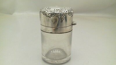 Antique Silver Top Glass Chunky Scent Perfume Bottle 1900