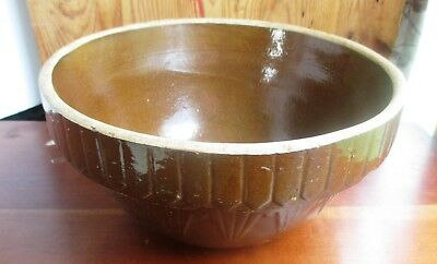 """ANTIQUE 10"""" Yellow Ware Stoneware Mixing Bowl Picket Fence Saw Tooth"""