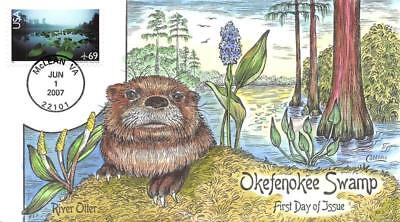 C142 69c Okefenokee Swamp, Collins H/P Hand Painted [E397010]