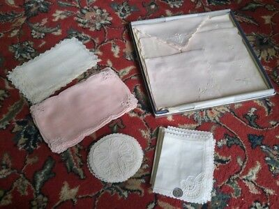White & Pink Vintage Belgium* Hand Embroidery Linen Cocktail Napkins, Coasters