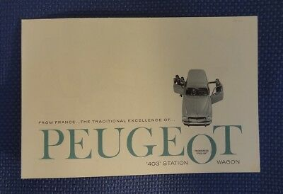 1960 PEUGEOT 403 Station Wagon Part Color Sales Brochure - New Old Stock
