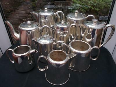 9 Assorted Pieces Of Silver Plated Hotel Ware Teapots Water Pots Jugs Etc