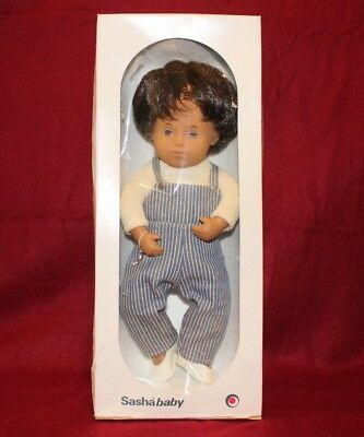 Vintage Baby Sasha Doll,Denim Playsuit Brown Hair,Tag And Box,Made In England