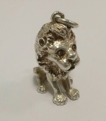 "Vintage Sterling Silver Hand Crafted Heavy Lion Pendant Charm Signed ""Hans L"""