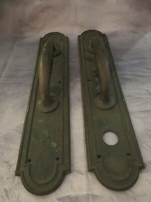 "Pair Large 20"" Antique Double Door Pull Handles Bronze/Brass From Vtg Theater"