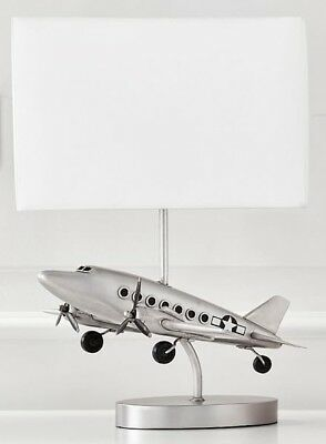 NEW Pottery Barn KIDS Vintage Airplane Complete Table Lamp, SILVER
