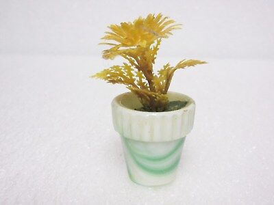 "Unusual Green & White Akro Agate 1.25 "" Thumb Pot with Original Yellow Flowers"