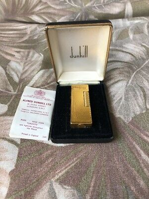Vintage Pristine In Orig Box Dunhill Rollagas Gold Plated Lighter W/directions!
