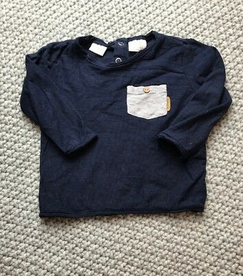 Zara Baby Boys Navy Long Sleeved Pocket Top Size 3-6 Months