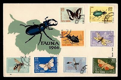 Dr Who 1966 Romania Fauna Insects Bugs Beetle Butterfly Bee Fdc C41012