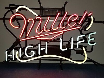 (Vtg) Miller High Life Beer Neon Light Up Bar Pub Sign Game Room Man Cave Rare