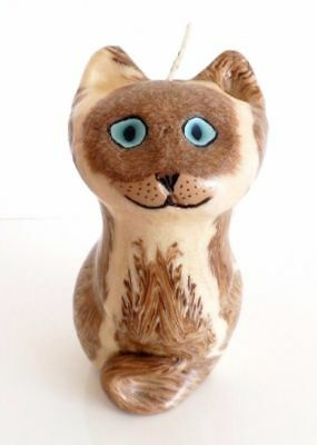 Vtg 60s 70s MCM Retro Decor Kitsch Marbled Wax Sculpture Cute Kitty Cat Candle