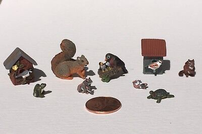 dollhouse miniature woodland animals by Leslie Frick 1:12 scale. 9 pieces