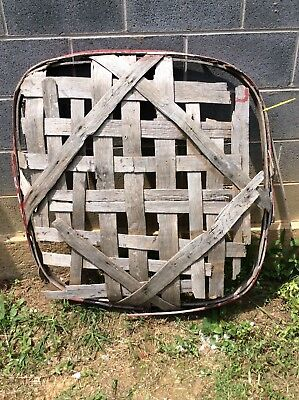 Antique Primitive Handmade Tobacco Basket Red Band With WOOD In White