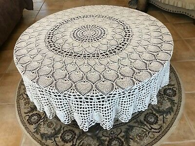 """Vintage Ecru Cotton Crochet Lace Tablecloth 76"""" Round Pineapple Design Hand Made"""