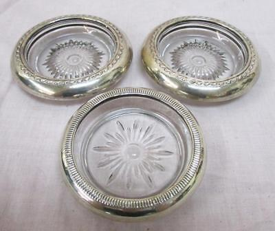Lot 3 Sterling Silver Rimmed & Glass Coasters With Starburst Pattern ~98