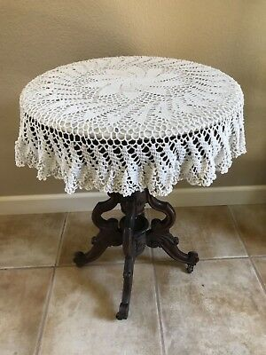 """Vintage Ivory Cotton Crochet Lace Tablecloth 36"""" Round  Hand Made"""