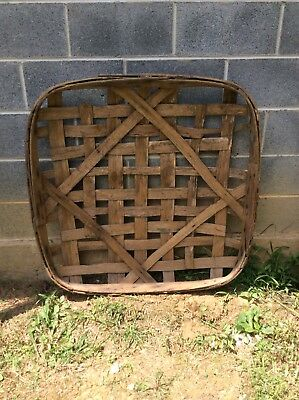 Antique Primitive Handmade Tobacco Basket FAIR BLUFF PLANTERS WHSE Smaller