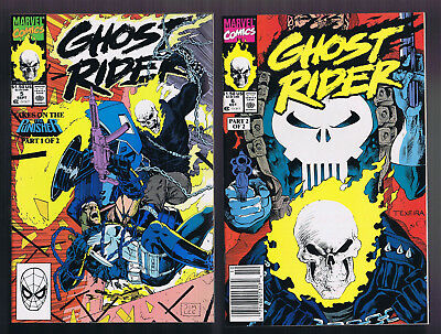 2 pc Lot: GHOST RIDER #5 + 6 (1990 Marvel)  VS Punisher Part 1-2 JIM LEE TEXEIRA
