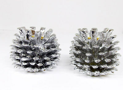 2 Pack Silver Poly Resin Pine Cone Candle Holders