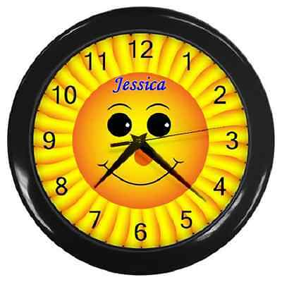 Sunflower Smiley Face Customised Name Wall Clock Children's Clock **great Item**