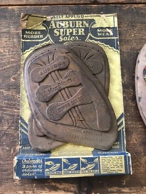 Auburn Super Soles BOOT RUBBER SOLES Nos In Package Pair With Leather Sole Lot