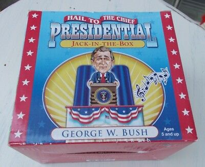 """PESIDENTIAL JACK-IN-THE-BOX George W. Bush - plays """"Hail to the Chief"""""""