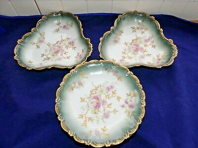 Vintage Limoges Dining Set -  2 x 3 Cornered Serving Dishes & 6 Dinning Plates