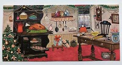 Vintage Hallmark Card House Kitchen Christmas Tree Gingerbread Stove Nativity