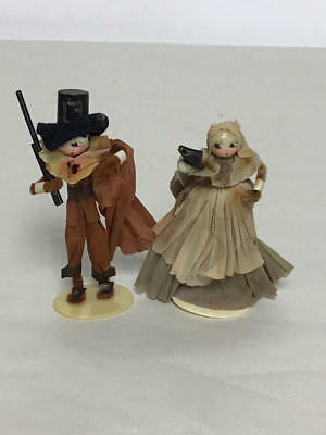 """Miniature 3.5"""" Pilgrim Man And Woman Dolls For Thanksgiving Celluloid Heads"""