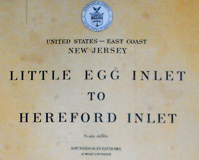 1915 Antique Sea Chart Map Atlantic City Little Egg Hereford Inlet NJ USA