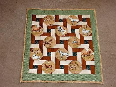 """HAPPY TRAILS HOME MADE HORSE QUILT WALL HANGING LAP  USA 36"""" X 36""""  horse pony"""