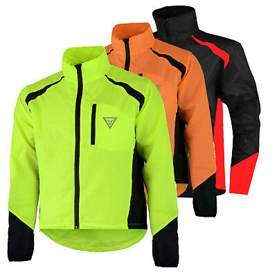 Mens Cycling Jacket High Visibility Waterproof Running Top Rain Coat S to XXL