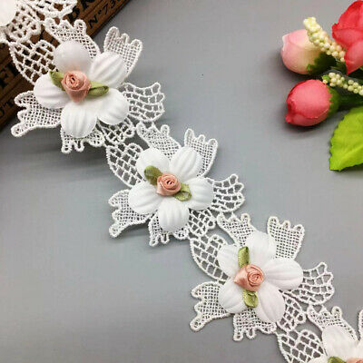 1yd Flower Rose Lace Edge Trim Wedding Ribbon Embroidered Applique Sewing Patch