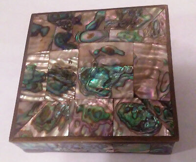 Taxco Mexico Abalone Pearl and Brass Box