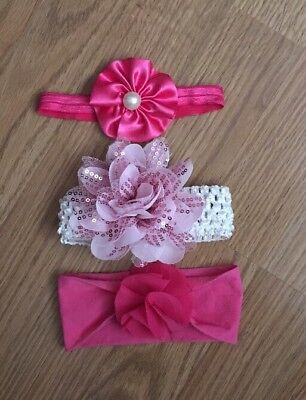 3 Infant Baby Girl Head Wraps/Head Bands