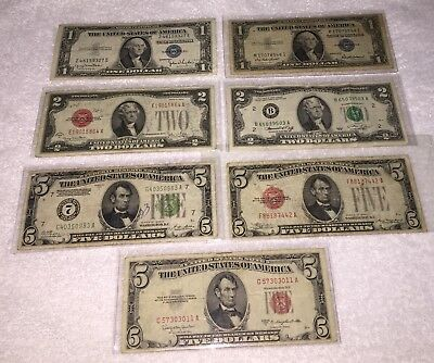 U.S. Currency Bill Old Paper Money Lot of 7! $1, $2, & $5's! Red,Blue,Green Seal